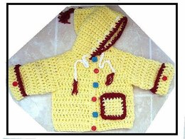 593, BABY HOODED CARDIGAN, newborn to 1 yr.