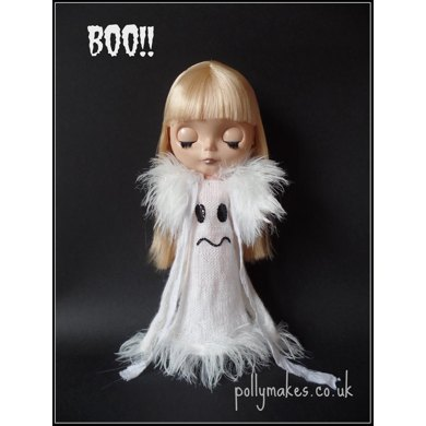 "Boo! Ghost dress and Stole for 12"" Blythe"