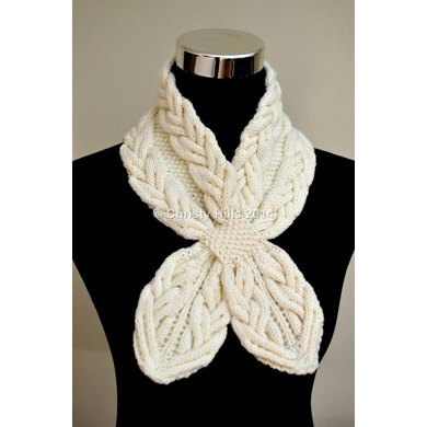 Milky White Cables Scarf ( Keyhole / Ascot / Pull-Through / Vintage / Stay On Scarf Knitting Pattern )