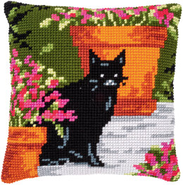 Vervaco Cross Stitch Cushion Kit Cat Between Flowers - PN-0184395