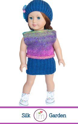 Doll Clothes Set for 18 inch Dolls, Knitting Pattern for Doll Clothes, Doll Skirt, Hat, Top