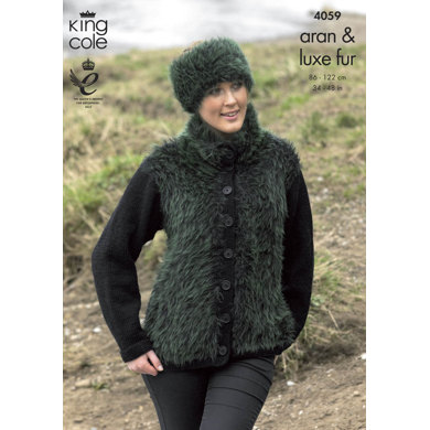 Jackets, Mittens and Headband in King Cole Aran and Luxe Fur - 4059
