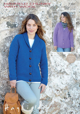 V Neck and Shawl Collar Cardigans in Hayfield Chunky With Wool - 7381 - Downloadable PDF