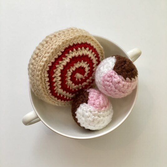 Crocheted jam roly poly