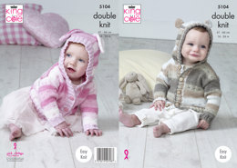 Hooded Jackets in King Cole Cottonsoft Baby CrushDK - 5104 - Leaflet