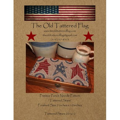 The Old Tattered Flag Tattered Stars Punch Needle Pattern with Printed Weaver's Cloth - OTF5000 - Leaflet