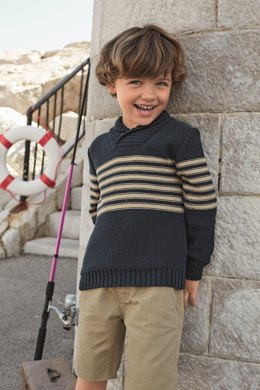 Boys Shawl Collar Sweater in Bergere de France Coton Fifty - 67531-18 - Downloadable PDF