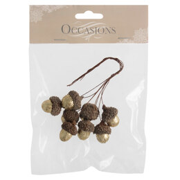 Groves Glitter Acorns on Wire: 8 Pieces