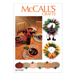 McCall's Pumpkin Placemats/Table Runner, Witch Hat/Legs, and Wreaths M7490 - Sewing Pattern