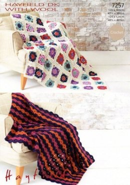 Crochet Afghan Blankets in Hayfield Dk With Wool - 7257