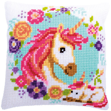 Vervaco Unicorn Cushion Cross Stitch Kit - 40cm x 40cm - 40cm x 40cm
