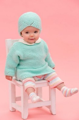 Camilla Babe Sweater & Hat in Red Heart Anne Geddes Baby - LW3720