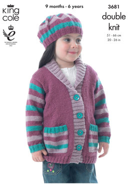 Jackets and Beret in King Cole Big Value DK - 3681