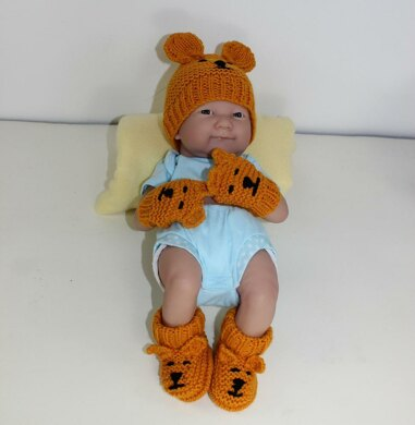 New Baby Teddy Bear Booties, Beanie & Mittens