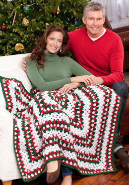 Holiday Throw in Red Heart Holiday - LW2613 - Downloadable PDF