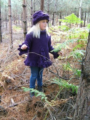 """""""Woodland Blueberry"""" Child Adult Sweater with Brimmed Hat"""
