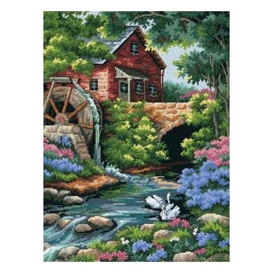 Dimensions Old Mill Cottage Needlepoint Kit - 30 x 41 cm