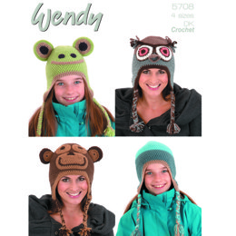 Crochet Animal Hats in Wendy DK - 5708