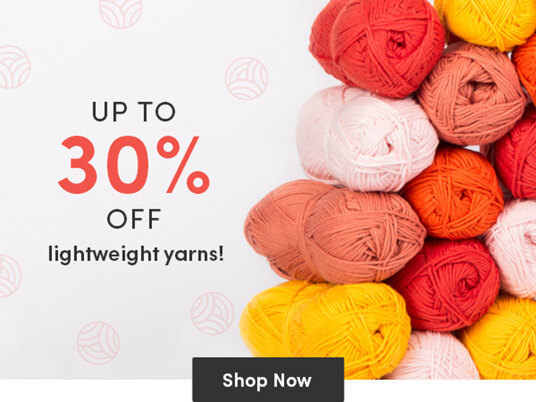 Up to 30 percent off lightweight yarns!