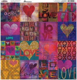 "Reminisce Square Cardstock Stickers 12""X12"" - Love Is Love"