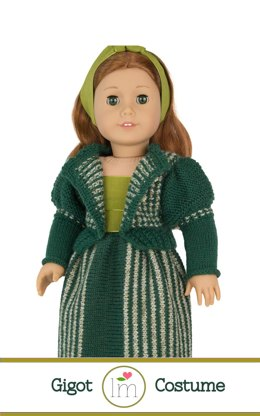 Gigot Sleeves Cardigan set for 18 inch dolls. Doll Clothes Knitting pattern.