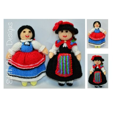 Folk Dolls - Switzerland & Bulgaria National Costumes