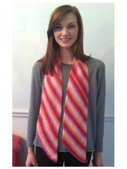 Diagonal Striped Scarf in Debbie Bliss Luxury Silk DK