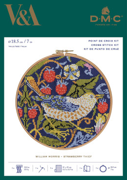 "DMC The V&A - Strawberry Thief - William Morris (inc 7"" Hoop) - 18cm"