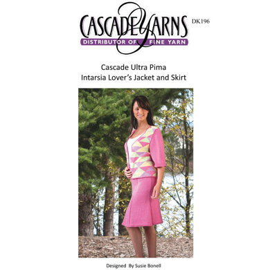 Intarsia Lover's Jacket and Skirt in Cascade Ultra Pima - DK196