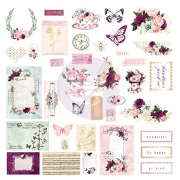Prima Marketing Pretty Mosaic Cardstock Ephemera 38/Pkg - Shapes, Tags, Words, Foiled Accents