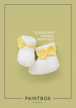 """Fledgling Floral Bootees"" - Crochet Pattern For Babies in Paintbox Yarns Cotton DK"