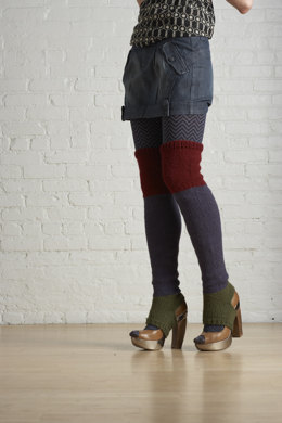 Color Block Thigh Highs in Lion Brand Wool-Ease - 70719AD