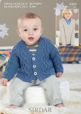 Cardigan and Sweater in Sirdar Snuggly Baby Bamboo DK - 4469 - Downloadable PDF