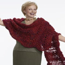 Crochet Wavy Shawl in Red Heart Light & Lofty - LW1543