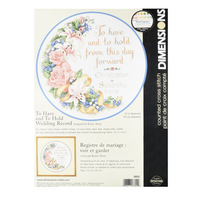 Dimensions To Have and To Hold Wedding Record Cross Stitch Kit - 30cm x 30cm