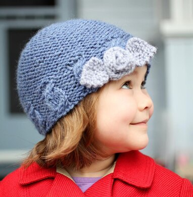 Sophia Cabled Hat with Flower