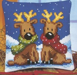 Vervaco Reindeer Twins Cushion Front Chunky Cross Stitch Kit