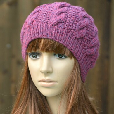 Womens Cable Beanie KPWB01 in James C. Brett Chunky With Merino