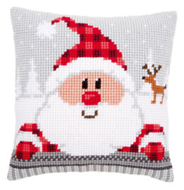 Vervaco Santa in a Plaid Hat Cushion Front Chunky Cross Stitch Kit
