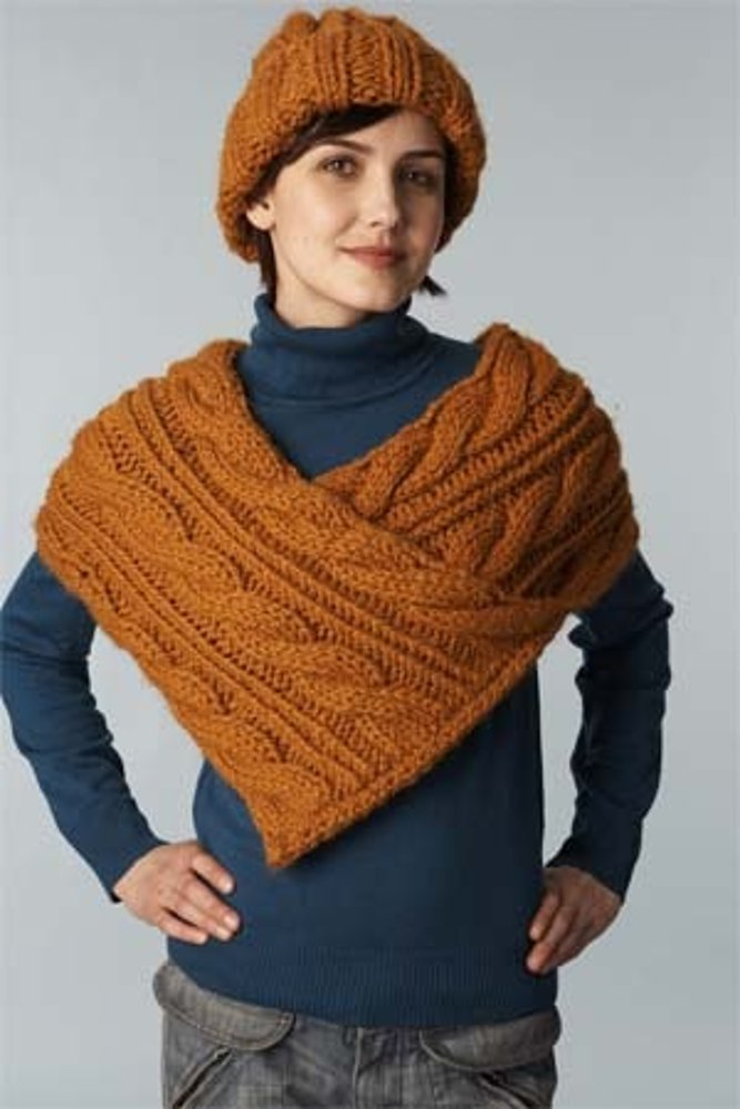 Cabled Wrap And Hat Lion Brand Wool Ease Thick Amp Quick
