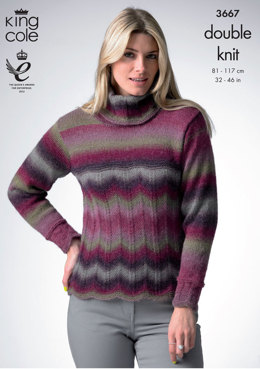 Sweater and Cardigan in King Cole Riot DK - 3667