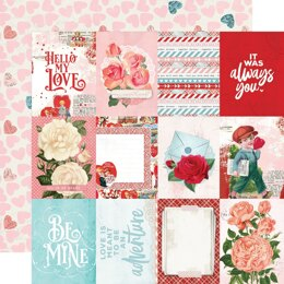 """Simple Stories Simple Vintage My Valentine Double-Sided Cardstock 12""""X12"""" 25/Pkg - 3""""X4"""" Elements"""