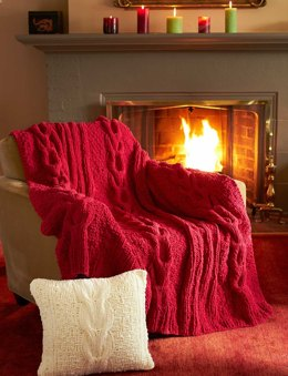 Horseshoe Cable Blanket and Pillow in Bernat Blanket Holiday