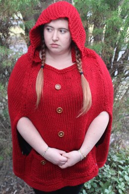 Knitted Red Riding Hood Poncho