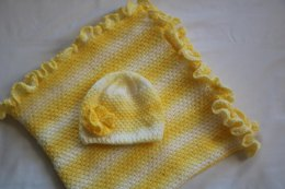 Ray of Sunshine Baby Blanket with Ruffle Hat.