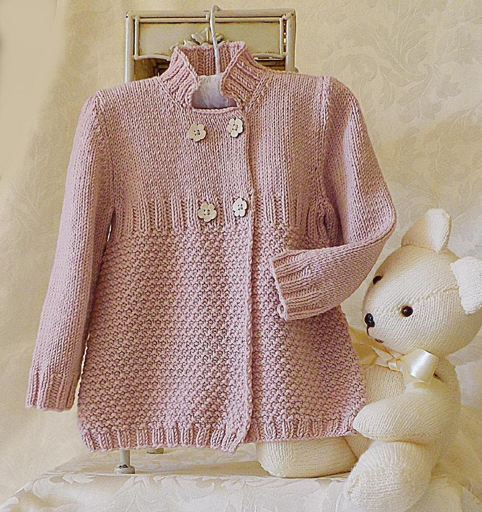Little Girls Three Quarter Length Double Breasted Coat Jacket Knitting