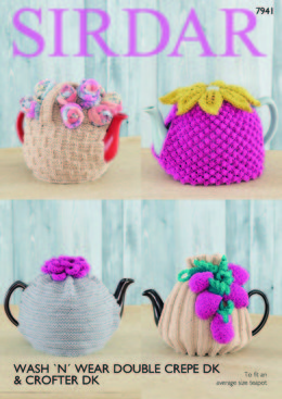 Tea Cosies in Sirdar Wash 'n' Wear Double Crepe DK & Crofter DK - 7941 - Downloadable PDF