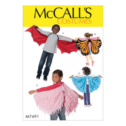 McCall's Kids' Bat Butterfly or Fairytale Wings M7491 - Paper Pattern Size All Sizes in One Envelo