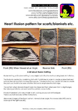 Black & White Valentine Heart Illusion Knitting