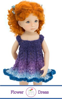 Flower Dress for 13 inch Little Darling dolls,  Doll Clothes Knitting Pattern.